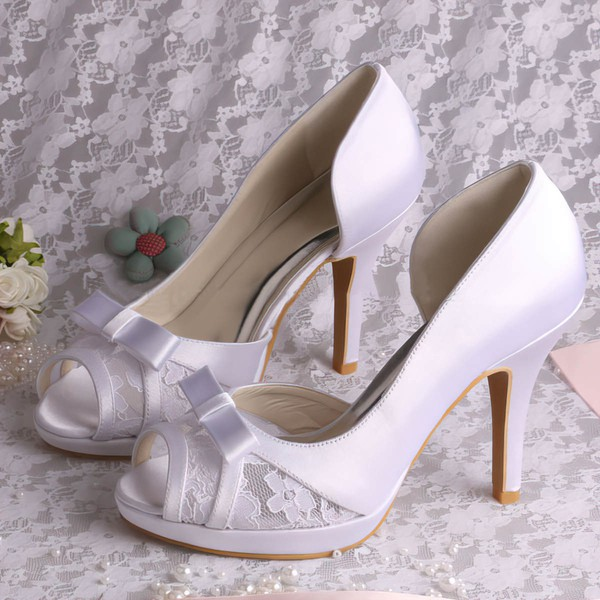 Women's Satin with Bowknot Stitching Lace Stiletto Heel Pumps Peep Toe Platform #LDB03030055