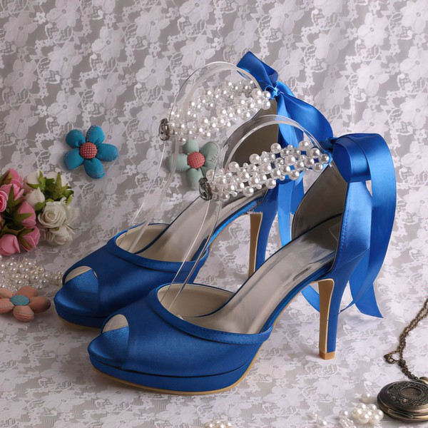 Women's Satin with Lace-up Pearl Stiletto Heel Pumps Peep Toe Platform #LDB03030056