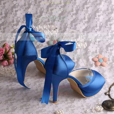 Women's Satin with Lace-up Pearl Stiletto Heel Pumps Peep Toe Platform #LDB03030056