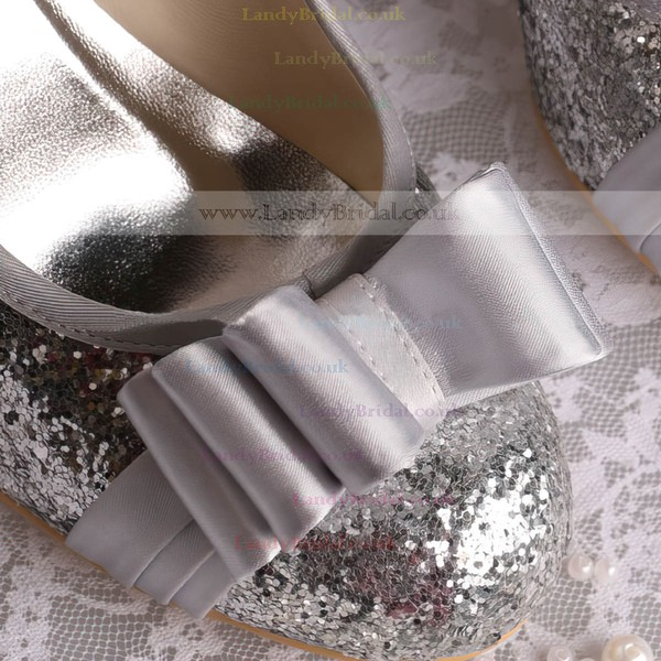 Women's Sparkling Glitter with Bowknot Wedge Heel Pumps Wedges