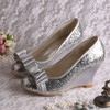 Women's Sparkling Glitter with Bowknot Wedge Heel Pumps Wedges #LDB03030058