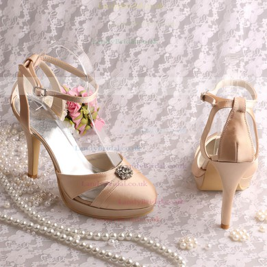 Women's Satin with Buckle Crystal Stiletto Heel Pumps Closed Toe Sandals Platform #LDB03030060