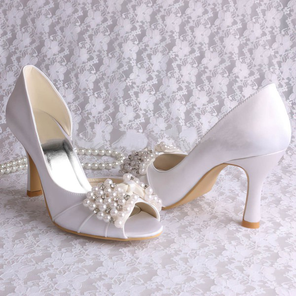 Women's Satin with Bowknot Crystal Pearl Spool Heel Pumps Peep Toe #LDB03030061