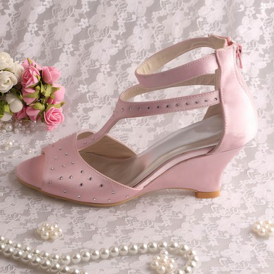 Women's Satin with Beading Zipper Wedge Heel Pumps Wedges #LDB03030062