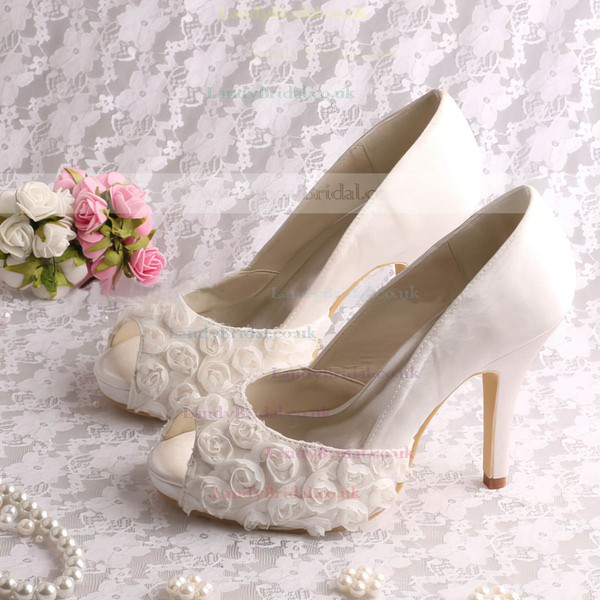 Women's Lace with Stitching Lace Stiletto Heel Pumps Sandals Peep Toe
