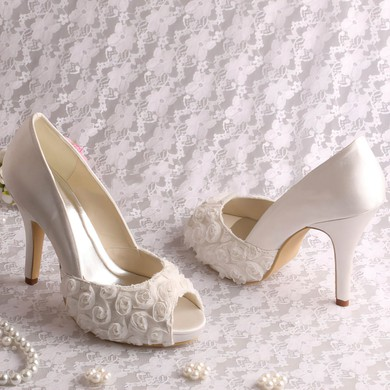 Women's Lace with Stitching Lace Stiletto Heel Pumps Sandals Peep Toe #LDB03030063