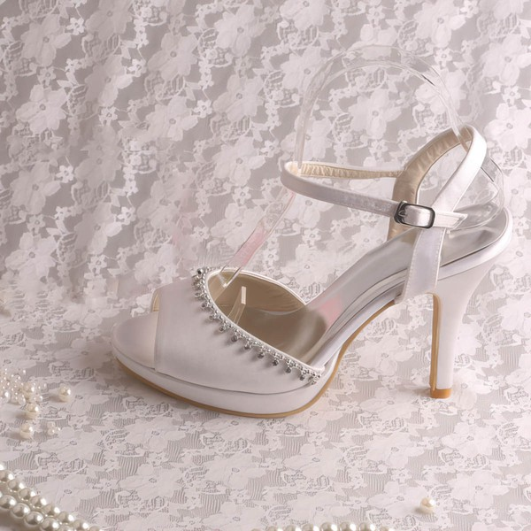 Women's Satin with Buckle Crystal Stiletto Heel Pumps Sandals #LDB03030064