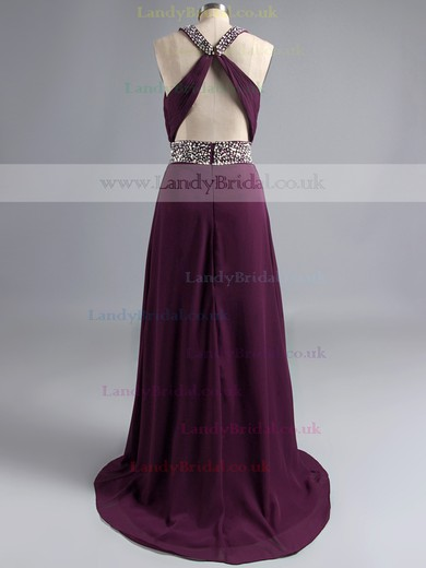 Purple Scoop Neck Chiffon Split Front Beading Sheath/Column Open Back Prom Dress #LDB02014710