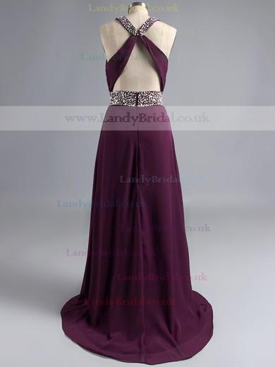 Purple Scoop Neck Chiffon Split Front Beading Sheath/Column Open Back Prom Dress #LDB02014710