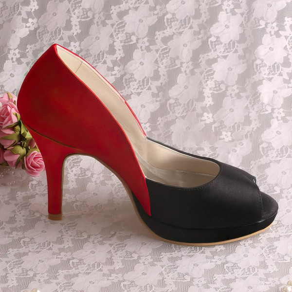 Women's Satin   Stiletto Heel Pumps Peep Toe Platform #LDB03030065