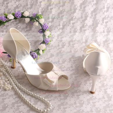Women's Satin with Bowknot Stiletto Heel Pumps Sandals #LDB03030066