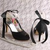 Women's Satin with Bowknot Imitation Pearl Stiletto Heel Pumps Peep Toe #LDB03030067