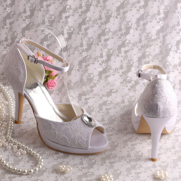 Women's Lace with Rhinestone Buckle Stiletto Heel Pumps Sandals Platform #LDB03030068