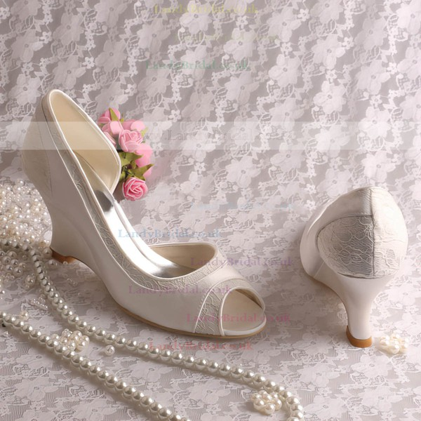 Women's Satin Lace with Ruffles Wedge Heel Peep Toe Wedges