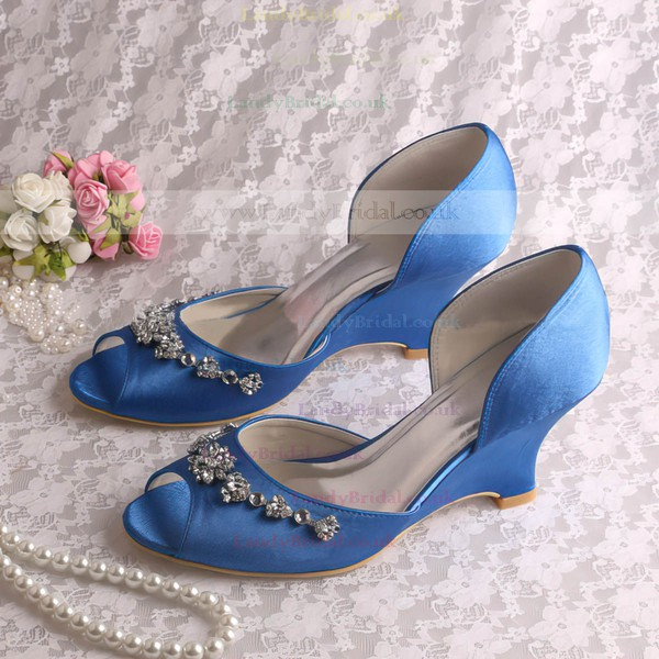 Women's Satin with Crystal Wedge Heel Peep Toe Wedges