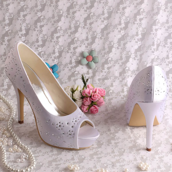 Women's Satin with Crystal Beading Stiletto Heel Pumps Peep Toe Platform