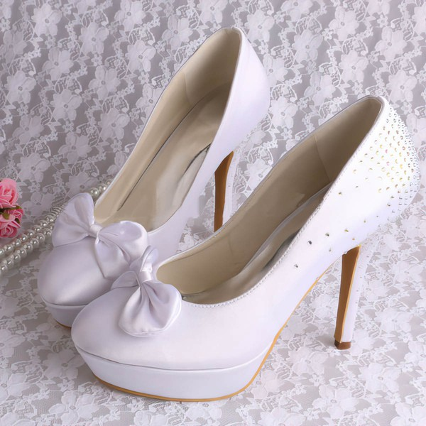 Women's Satin with Bowknot Crystal Crystal Heel Stiletto Heel Pumps Closed Toe Platform #LDB03030072