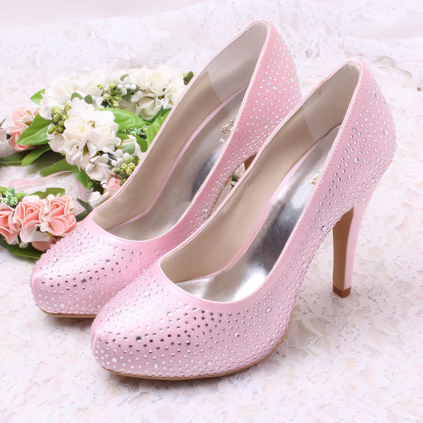 Women's Satin with Rhinestone Stiletto Heel Pumps Closed Toe #LDB03030073