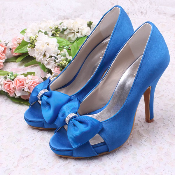 Women's Satin with Bowknot Crystal Hollow-out Stiletto Heel Pumps Sandals Peep Toe