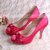 Women's Satin with Bowknot Crystal Hollow-out Stiletto Heel Pumps Sandals Peep Toe #LDB03030075