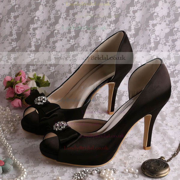 Women's Satin with Rhinestone Bowknot Stiletto Heel Pumps Peep Toe Platform