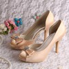 Women's Satin with Rhinestone Bowknot Stiletto Heel Pumps Peep Toe Platform #LDB03030076