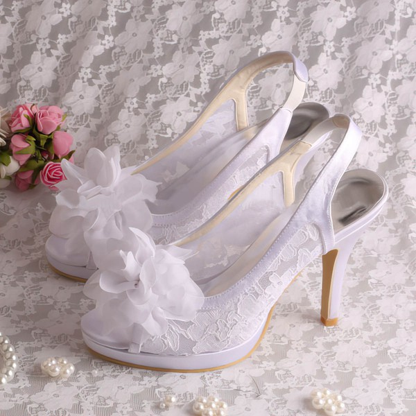 Women's Lace with Flower Stiletto Heel Pumps Sandals Peep Toe Slingbacks #LDB03030077