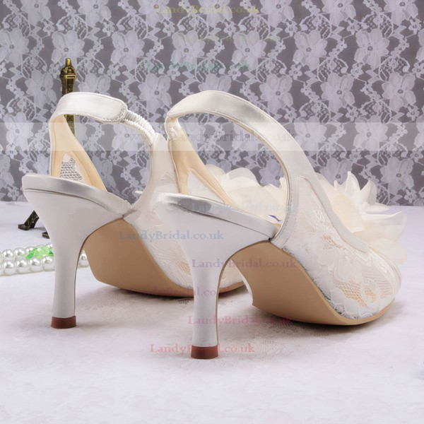 Women's Lace with Flower Stiletto Heel Pumps Sandals Peep Toe Slingbacks