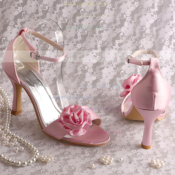 Women's Satin with Buckle Satin Flower Stiletto Heel Pumps Sandals Peep Toe