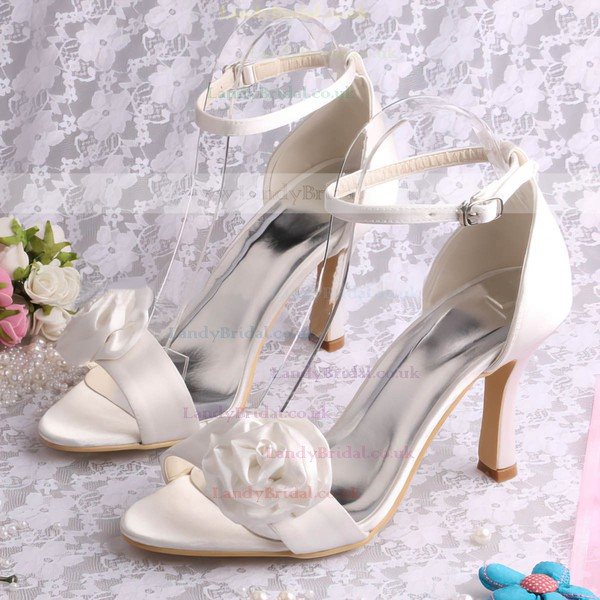 Women's Satin with Buckle Satin Flower Stiletto Heel Pumps Sandals Peep Toe