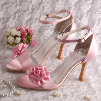 Women's Satin with Buckle Satin Flower Stiletto Heel Pumps Sandals Peep Toe #LDB03030078
