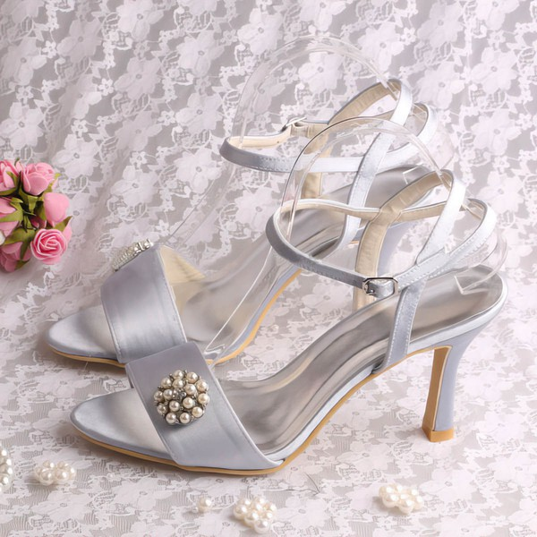 Women's Satin with Imitation Pearl Stiletto Heel Pumps Sandals Slingbacks #LDB03030079