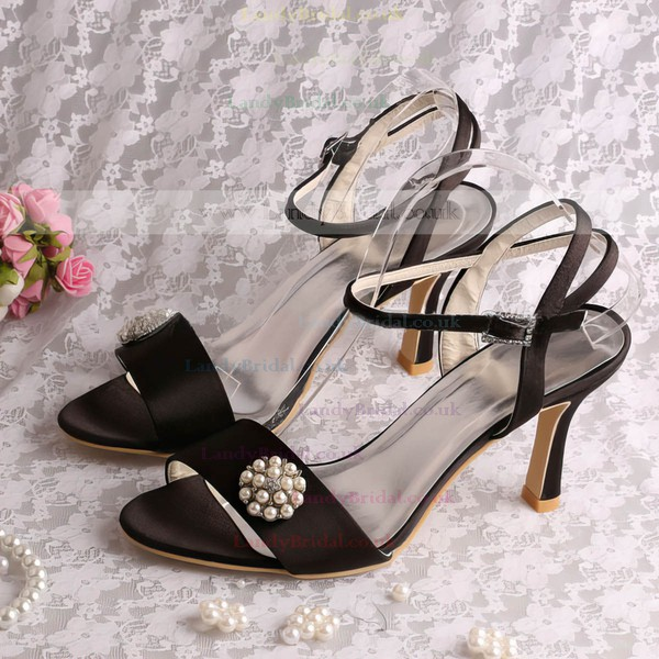 Women's Satin with Imitation Pearl Stiletto Heel Pumps Sandals Slingbacks