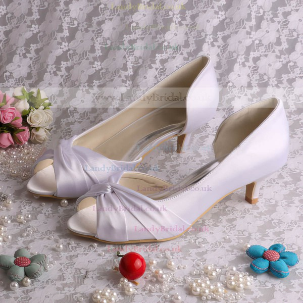 Women's Satin with Bowknot Kitten Heel Pumps Peep Toe