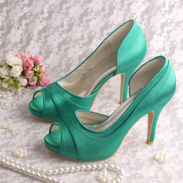 Women's Satin with Ruffles Stiletto Heel Pumps Peep Toe Platform #LDB03030081