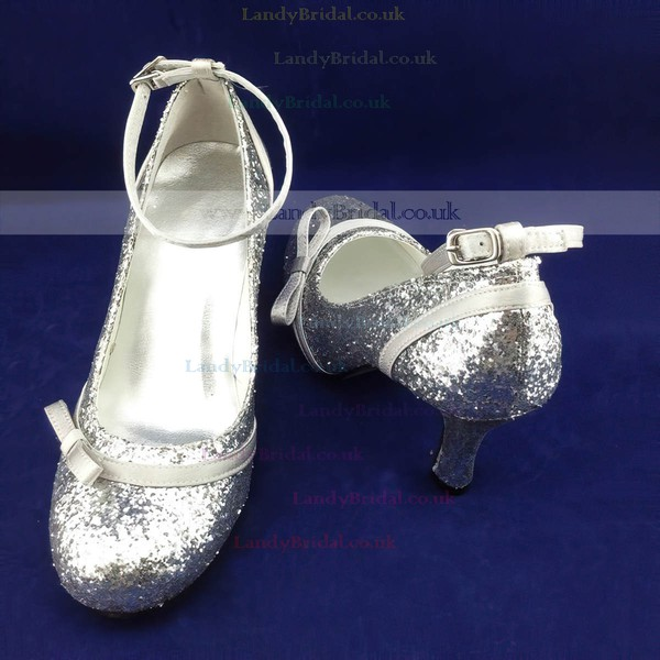 Women's Sparkling Glitter with Buckle Bowknot Kitten Heel Pumps Closed Toe