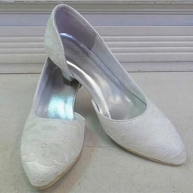 Women's Lace   Low Heel Pumps Closed Toe #LDB03030083