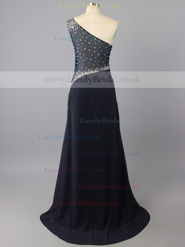 Women Split Front Chiffon Tulle with Beading Dark Navy One Shoulder Evening Dress #LDB02018358