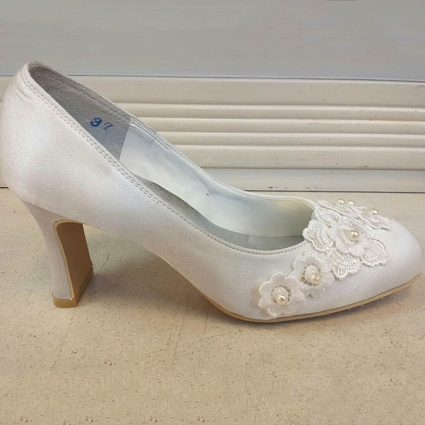 Women's Satin with Flower Kitten Heel Pumps Closed Toe #LDB03030085