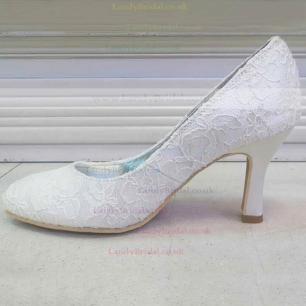 Women's Lace   Kitten Heel Pumps Closed Toe