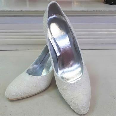 Women's Lace   Kitten Heel Pumps Closed Toe #LDB03030086