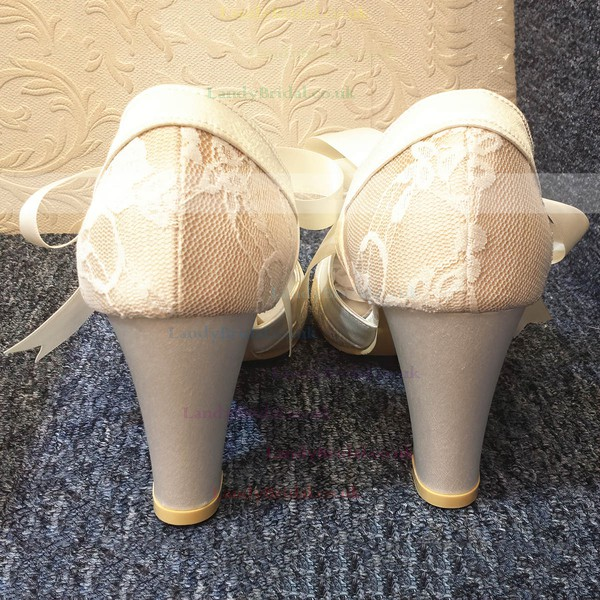 Women's Lace with Ribbon Tie Spool Heel Pumps Closed Toe