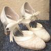 Women's Lace with Ribbon Tie Spool Heel Pumps Closed Toe #LDB03030088