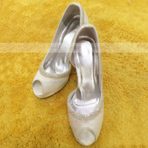 Women's Satin with Imitation Pearl Stiletto Heel Pumps Peep Toe