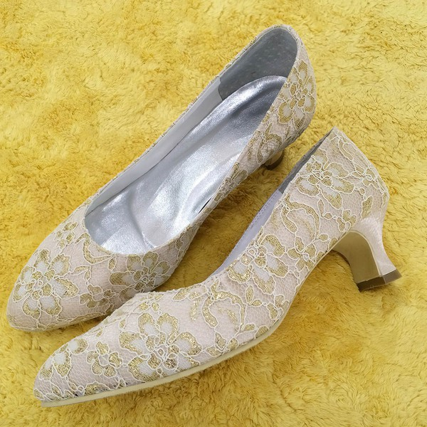 Women's Lace with Stitching Lace Spool Heel Pumps Closed Toe