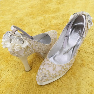 Women's Lace with Crystal Buckle Stiletto Heel Pumps Closed Toe #LDB03030092