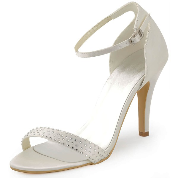 Women's Satin with Buckle Crystal Stiletto Heel Pumps Sandals #LDB03030096