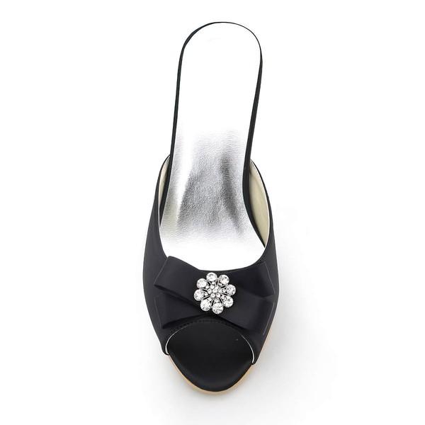Women's Satin with Bowknot Crystal Stiletto Heel Sandals Peep Toe Slingbacks
