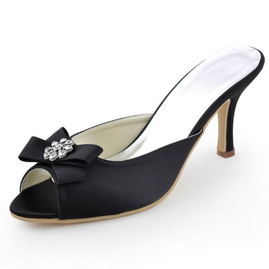 Women's Satin with Bowknot Crystal Stiletto Heel Sandals Peep Toe Slingbacks #LDB03030098