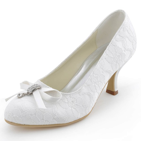 Women's Lace with Bowknot Kitten Heel Closed Toe Pumps #LDB03030099